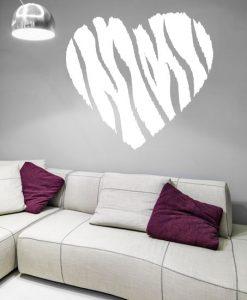 szablon do malowania ścian zebra i serce