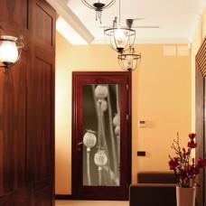 naklejka na drzwi w sepii