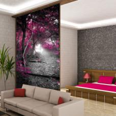 naklejka różowy las