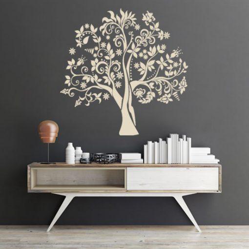 naklejka na ścianę kwiaty i liście na drzewie