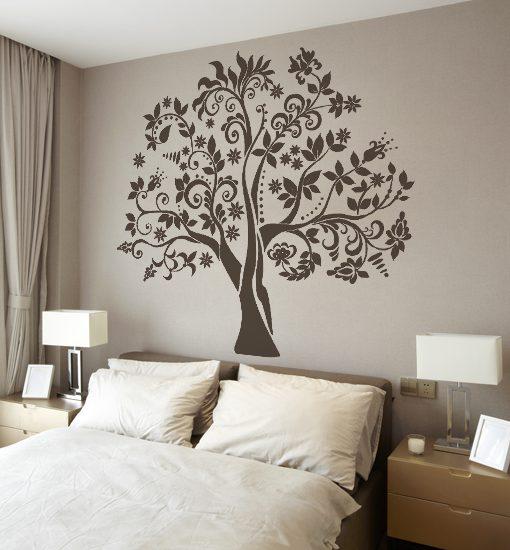 ściana pomalowana szablonem