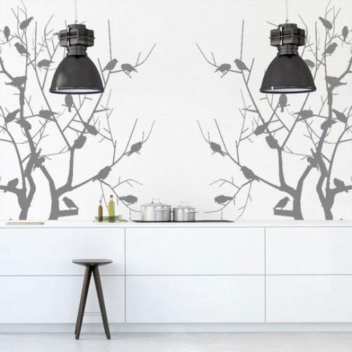 szablon ptaszki na drzewkach