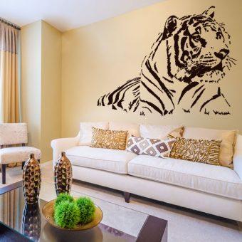 naklejka na ścianę leżący tygrys