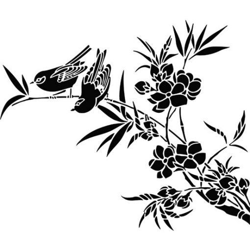 wzory na ściany ptaki