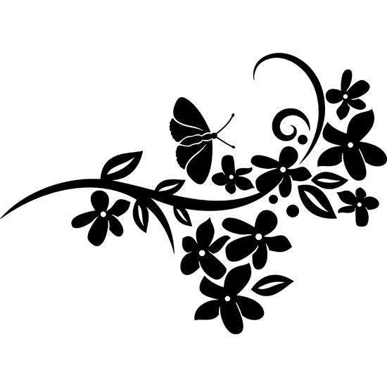 Dekoracja Do Naklejania Z Motylem I Rośliną W Salonie