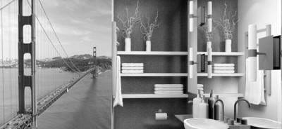 naklejka most czarno-biały