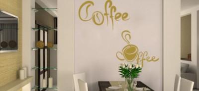 Naklejki na ścianę napisy - naklejka z napisem kawa