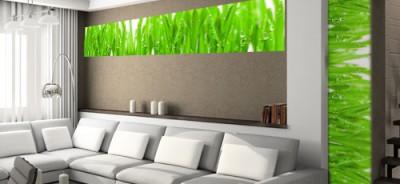 naklejka z trawą w salonie