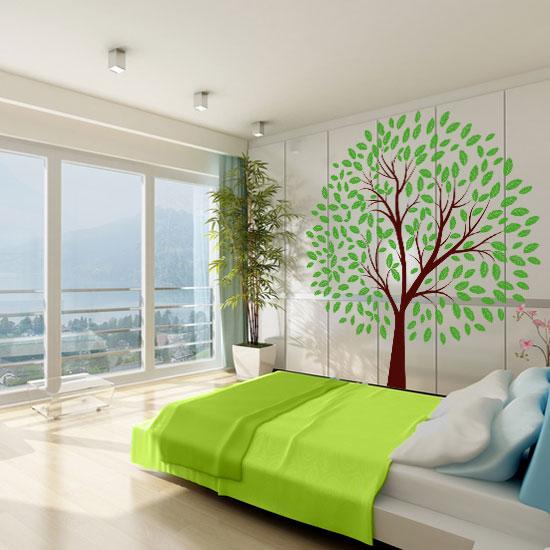 naklejka liściaste drzewo