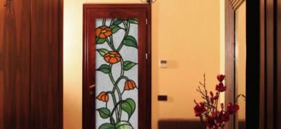 witraż na drzwi maki