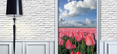 Folia dekoracyjna na drzwi - fotonaklejka na drzwi pole tulipanów