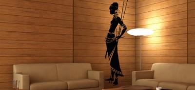 Motywy afryka na ścianę - naklejka afrykańska wojowniczka