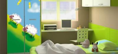 naklejki na meble dziecięce - naklejka na szafę owieczki