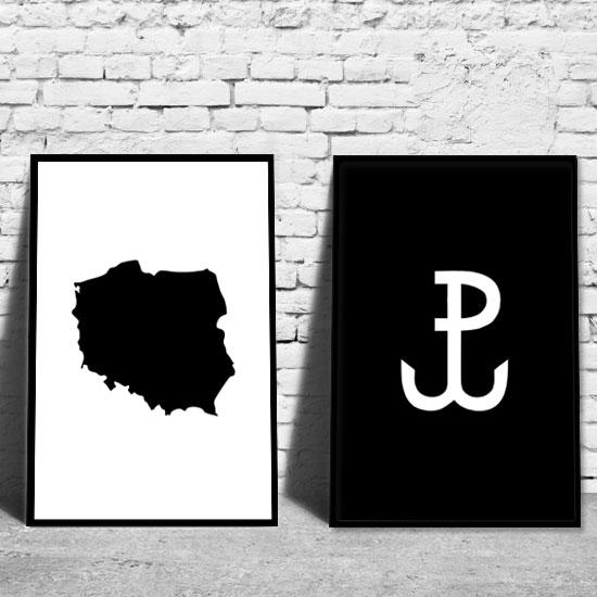 Podwójny Plakat Z Mapą Polski