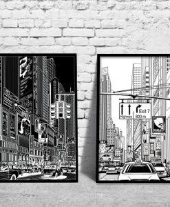 dyptyk plakatów z Nowym Jorkiem
