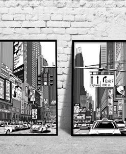 plakaty z taksówkami