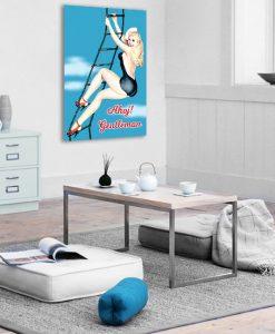plakat z blondynka i napisem