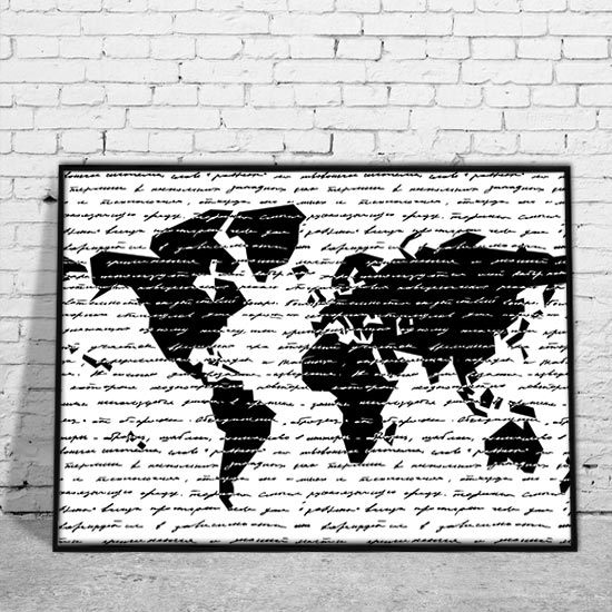 Plakat Z Czarno Białą Mapą świata