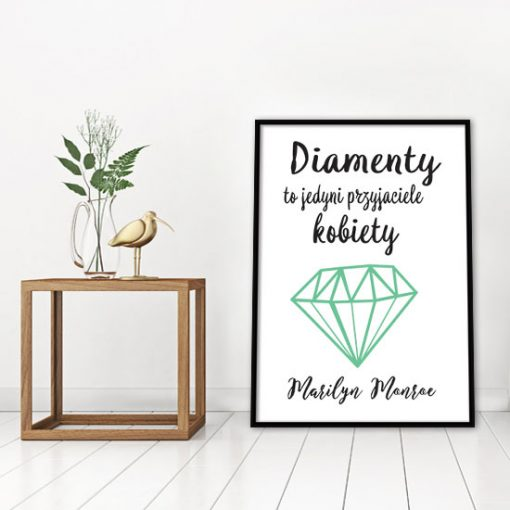 plakat z mottem o diamentach