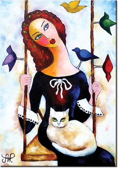 plakat z reprodukcją dziewczyna i kot