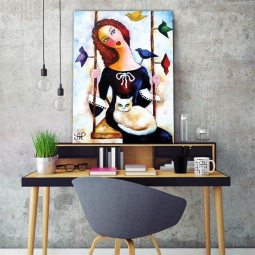 plakat dziewczyna na huśtawce