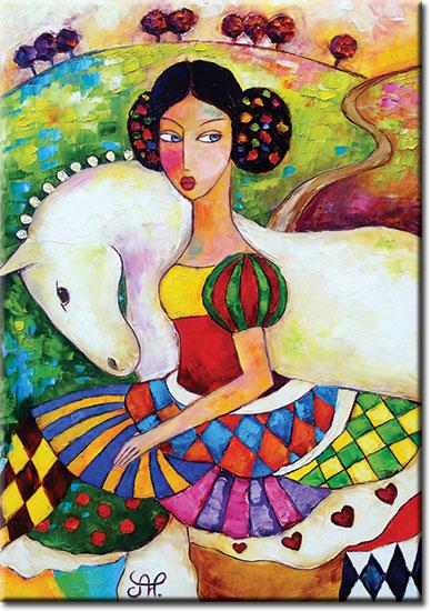 plakat z piękną kobietą na reprodukcji