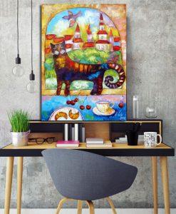 plakat jak malowany z kotkiem