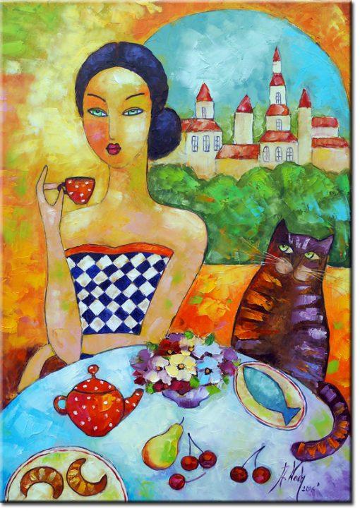 plakat z kotem i dziewczyną