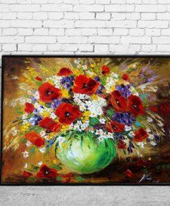 plakat bukiet kwiatów w zielonym wazonie