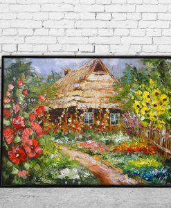 kolorowy plakat pejzaż wiejski