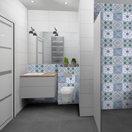 samorpzylepna naklejka na kafle w łazience