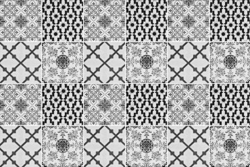 czarno-białe naklejki marokańskie na kafle