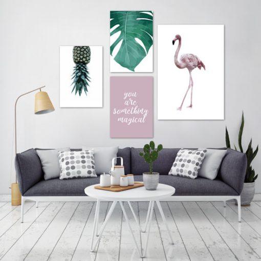 zestaw tropikalnych plakatów do salonu
