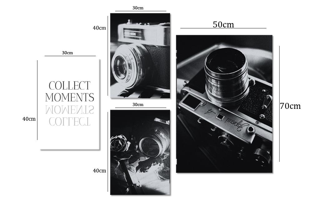 Zestaw Plakatów Aparat Fotograficzny I Maksyma Collect Moments