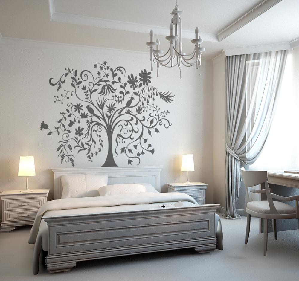 naklejka do sypialni nad łóżko z drzewem