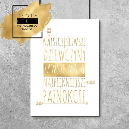 plakat złocisty z napisem