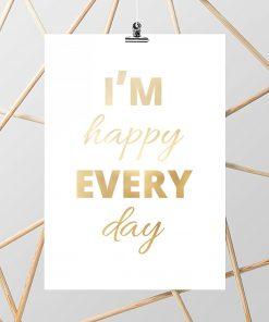 złoto na plakacie i napisy o szczęściu