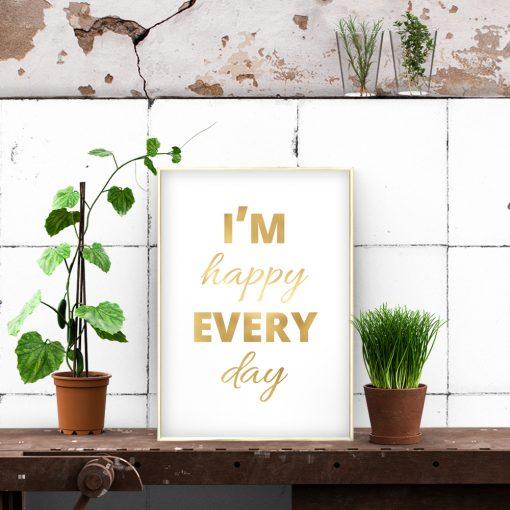 złoty napis o szczęściu na plakacie