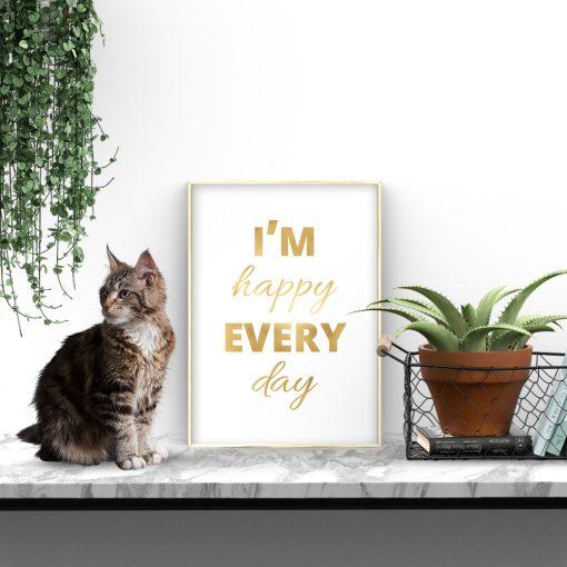 metaliczny plakat z napisem o szczęściu