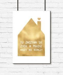 napis o złotym domku jako plakat