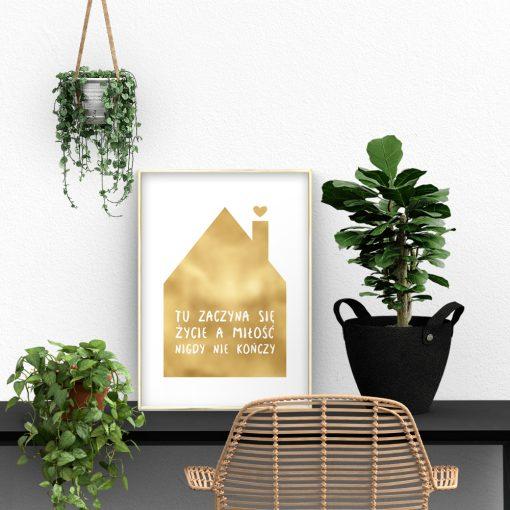 motyw domku jako złoty plakat