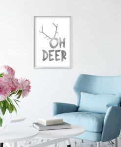 srebrny napis oh deer