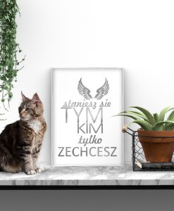 plakat do salonu ze srebrnym napisem