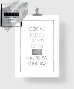 plakat ze srebrnym hasłem