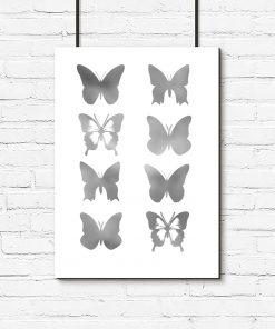 motylki jako plakat srebrny