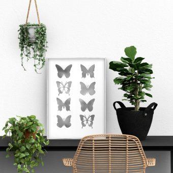 salon z motywem motyli na palakcie