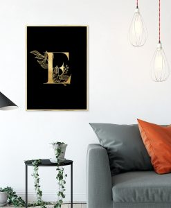 plakat metaliczne z literą e