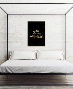 złoty plakat do salonu lub sypialni