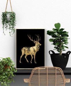 plakat pionowy z motywem jelenia