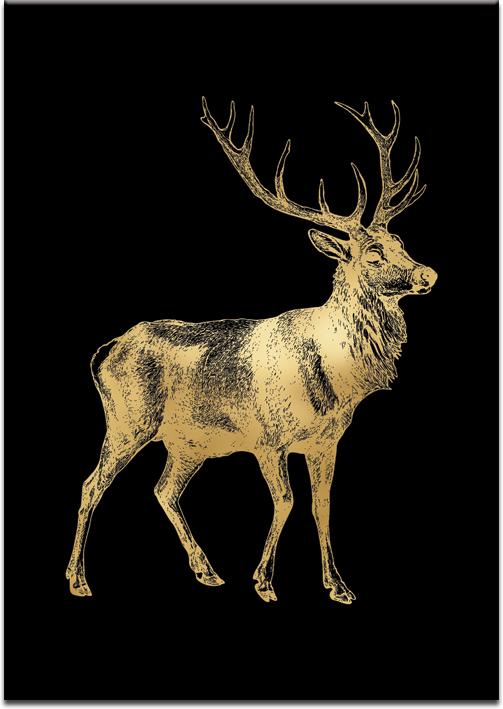 motyw jelenia na plakacie metalicznym